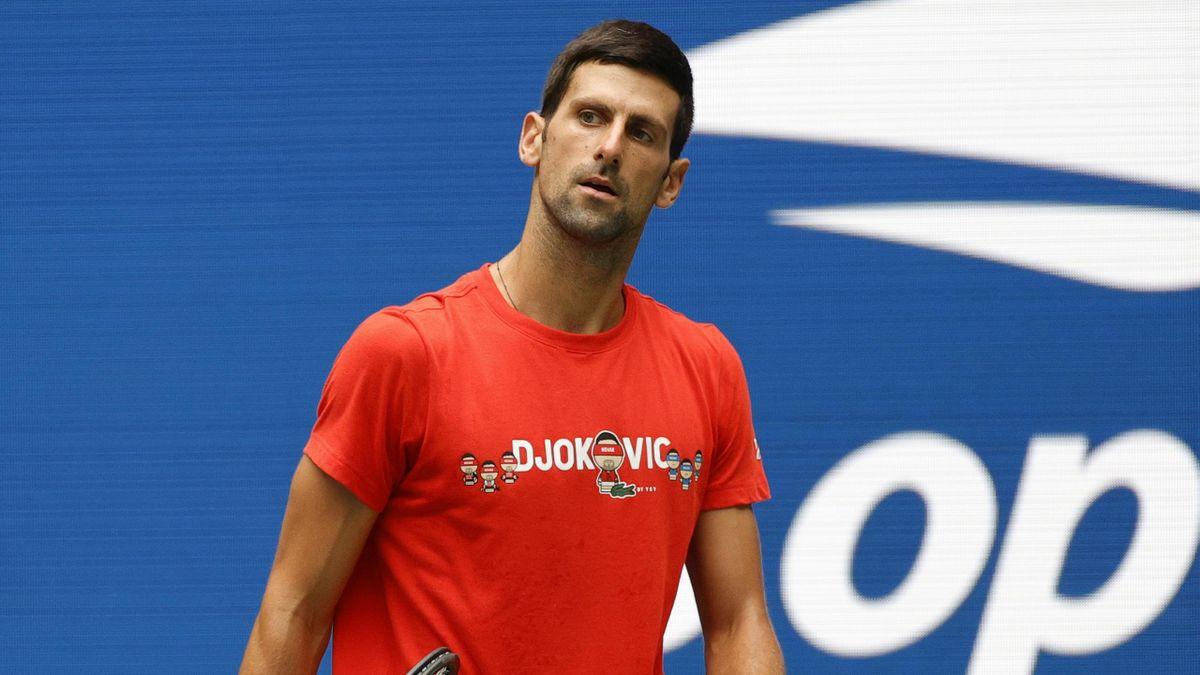Novak Djokovic à l'entraînement avant l'US Open 2021.