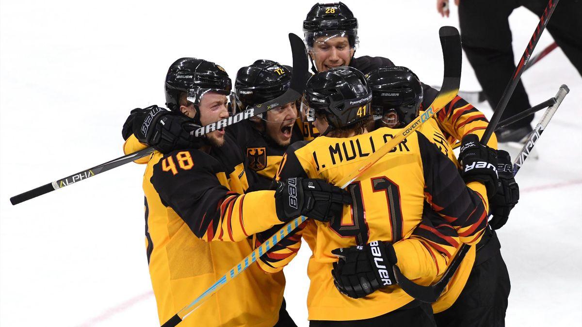 Olympia 2018, Eishockey-Finale Deutschland-Russland: Jubel beim DEB-Team