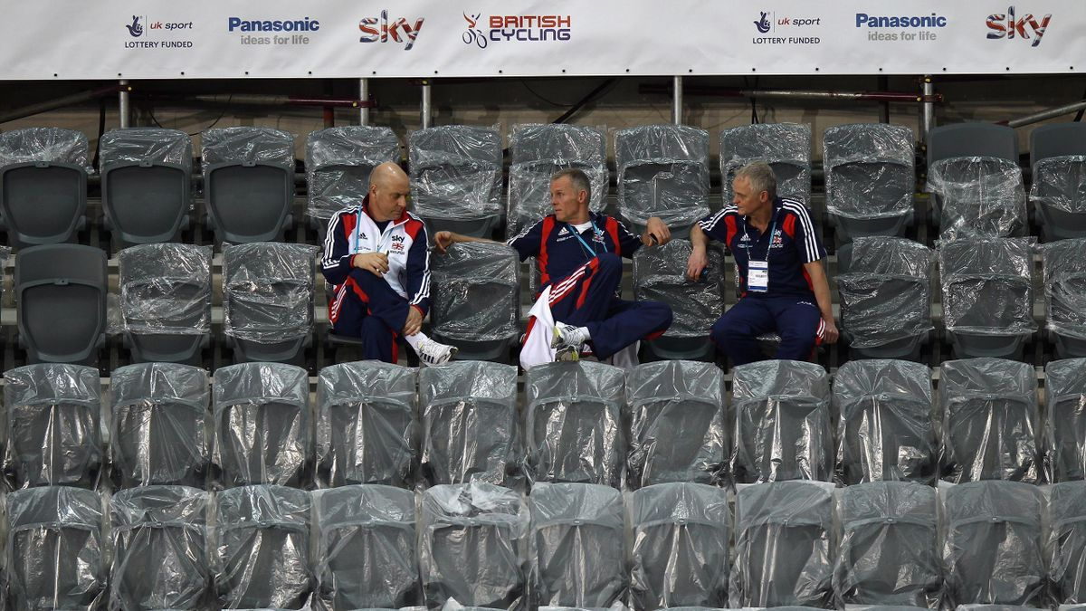 British Cycling Performance Director Dave Brailsford, British Cycling Performance Manager Shane Sutton and team Psychologist Steve Peters attend a training session at the UCI Track Cycling World Cup - LOCOG Test Event for London 2012