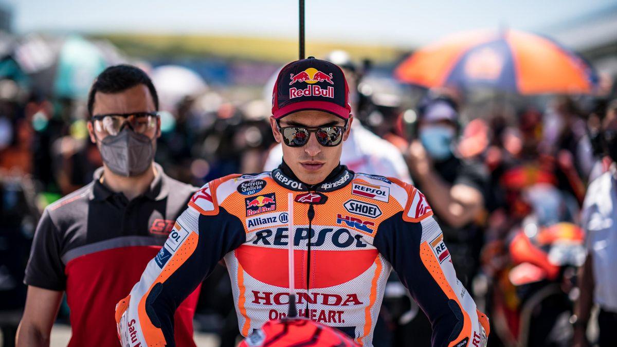 Marc Marquez (Honda) avant le départ du Grand Prix d'Espagne, le 2 mai 2021
