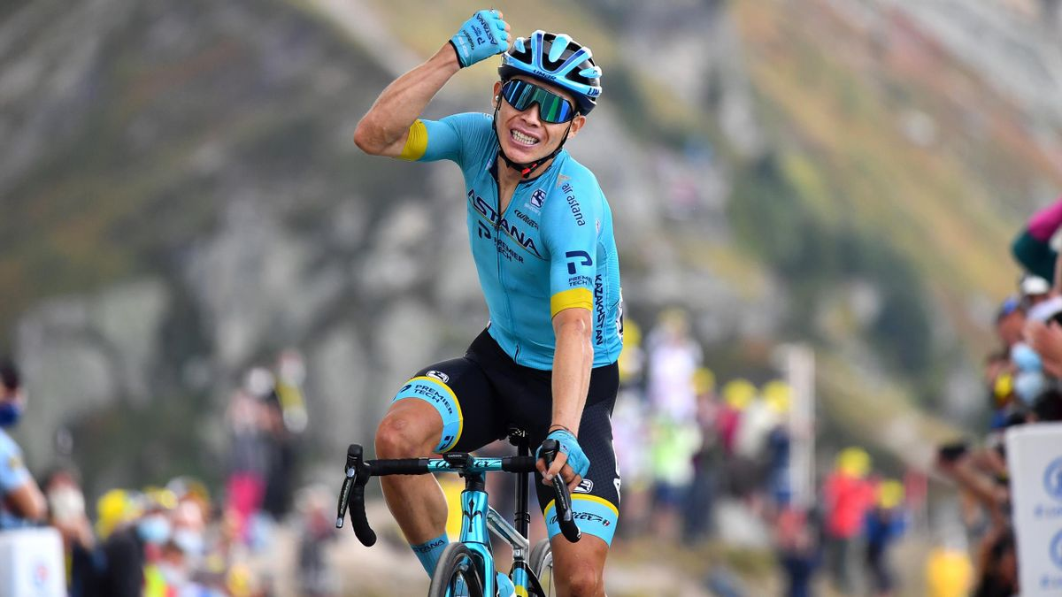 Miguel Angel Lopez Moreno of Colombia and Astana Pro Team / Celebration / Col de la Loze (2304m) / Public / Fans / during the 107th Tour de France 2020, Stage 17 a 170km stage from Grenoble to Méribel - Col de la Loze