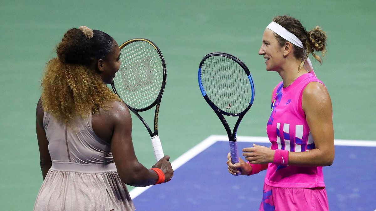Victoria Azarenka (R) of Belarus talks with Serena Williams (L) of the United States after winning their Women's Singles semifinal match on Day Eleven of the 2020 US Open at the USTA Billie Jean King National Tennis Center