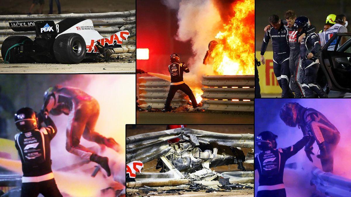 Grosjean, le immagini dell'incidente al GP Bahrain