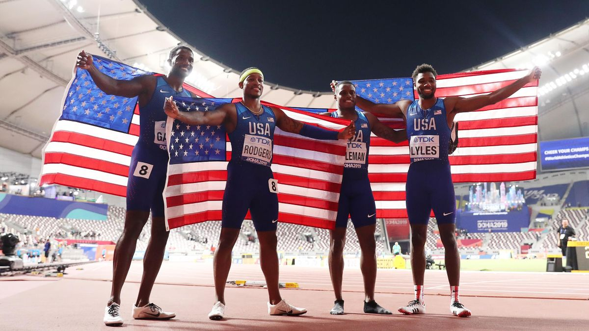 Christian Coleman, Justin Gatlin, Michael Rodgers and Noah Lyles of the United States celebrate gold in the Men's 4x100 Metres Relay during day nine of 17th IAAF World Athletics Championships Doha 2019 at Khalifa International Stadium on October 05, 2019