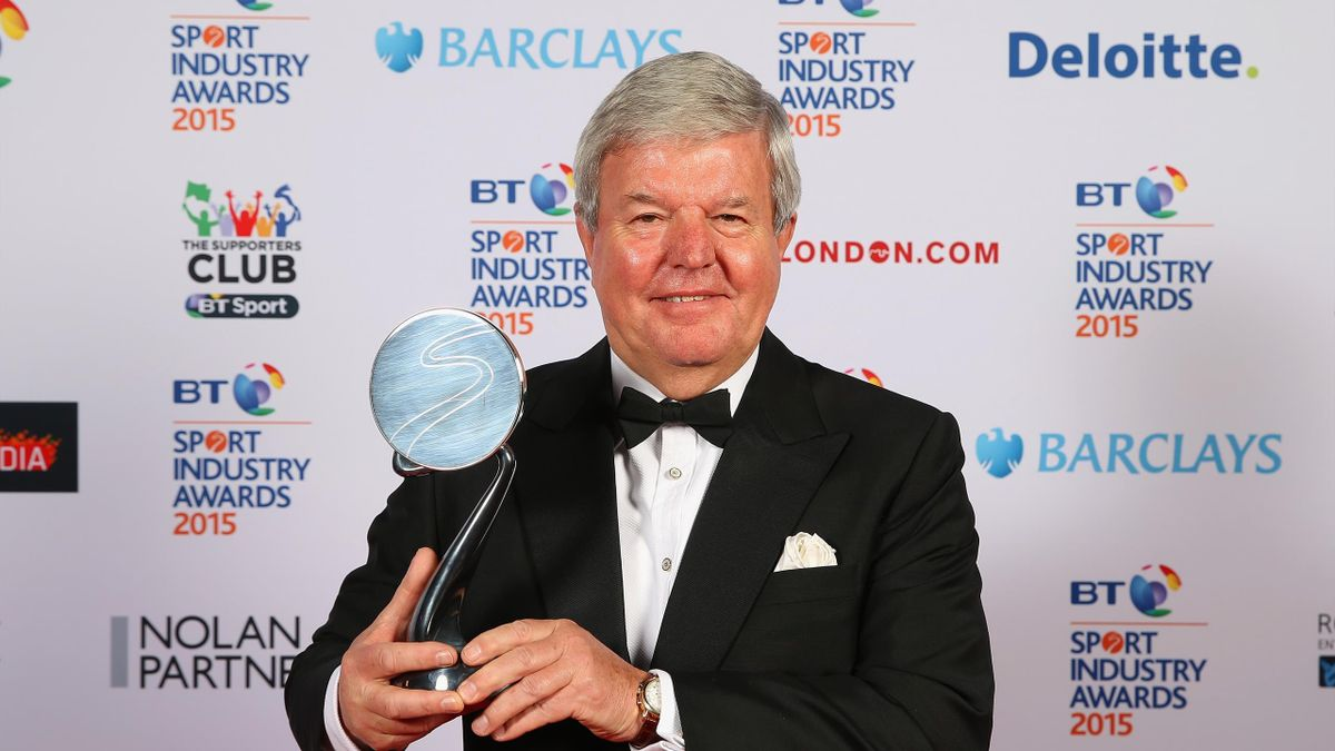 Sir Keith Mills poses with The Barclays Lifetime Achievement Award, BT Sport Industry Awards, Battersea Evolution, London,April 30, 2015