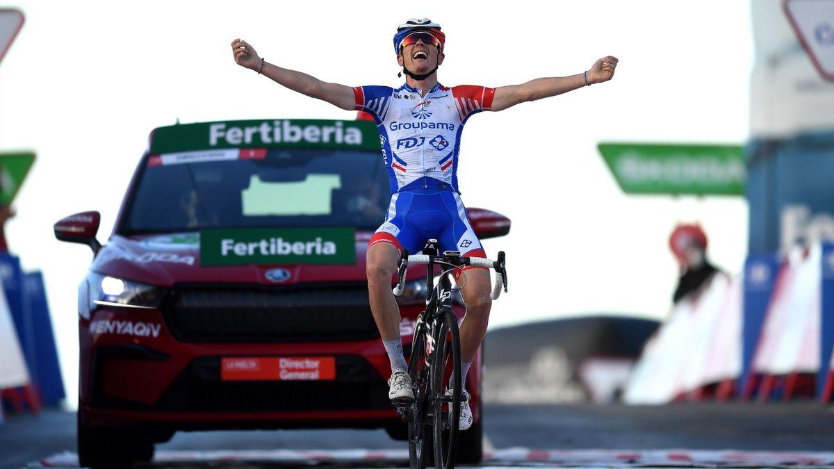 Arrival / of France and Team Groupama - FDJ / Celebration / during the 75th Tour of Spain 2020, Stage 17 a 178,2km stage from Sequeros to Alto de la Covatilla-Sierra de Béjar 1965m / @lavuelta / #LaVuelta20 / La Vuelta