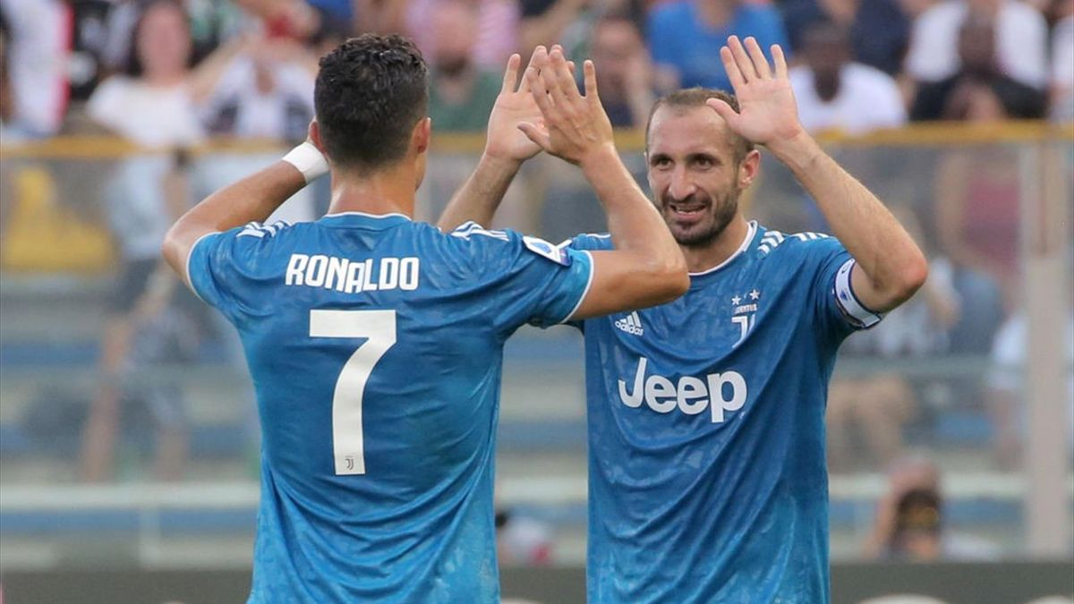Cristiano Ronaldo with Giorgio Chiellini
