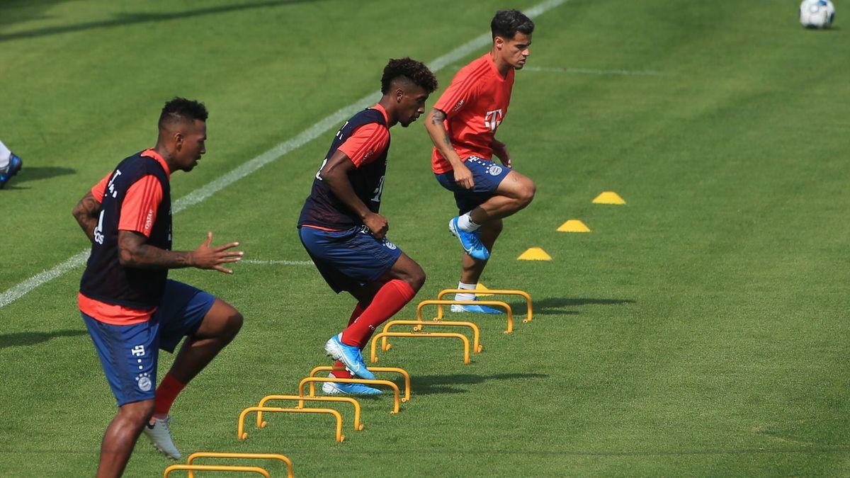 Jérôme Boateng, Kingsley Coman und Philippe Coutinho vom FC Bayern