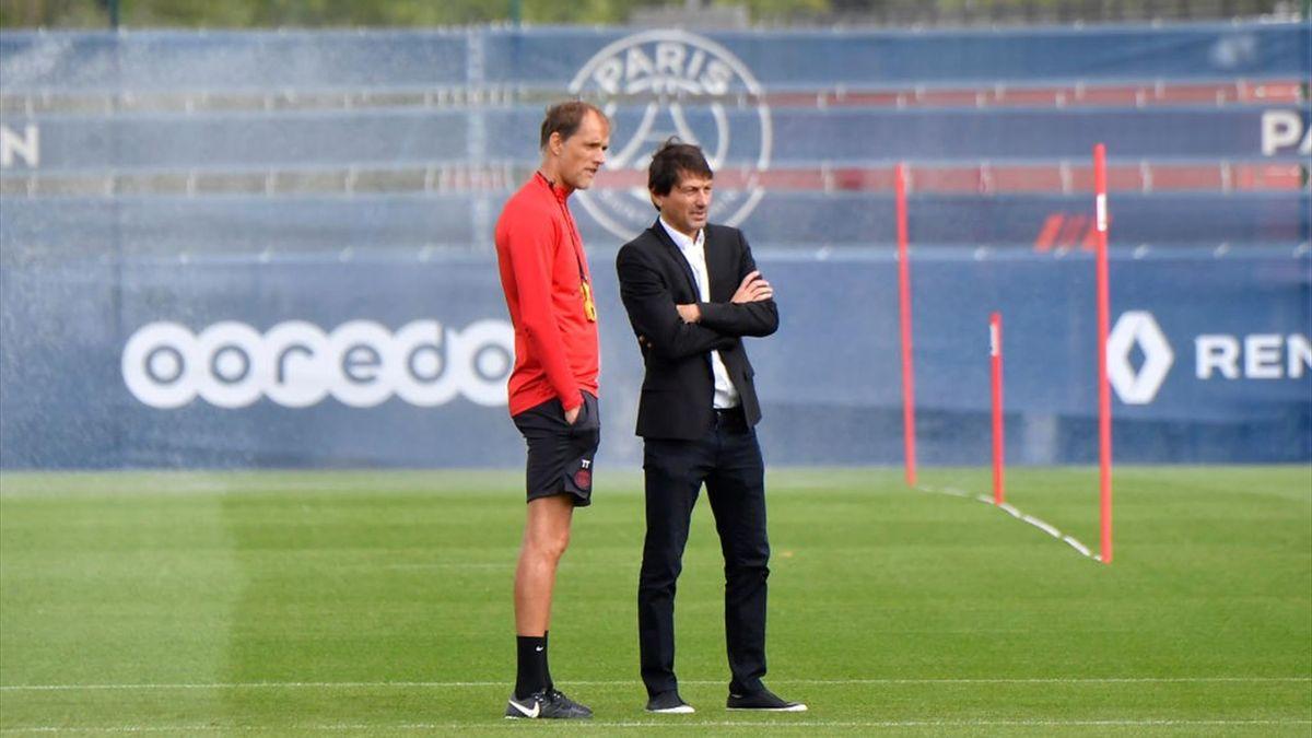 Thomas Tuchel und Leonardo während des Trainings von PSG