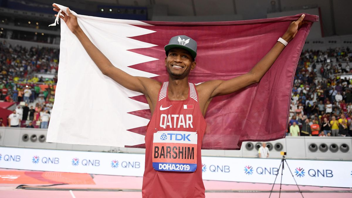 Mutaz Essa Barshim célèbre son titre mondial 2019 à Doha