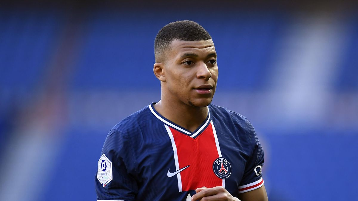 Kylian Mbappe of Paris Saint-Germain looks on during the Ligue 1 match between Paris Saint-Germain and Lille OSC at Parc des Princes on April 03, 2021 in Paris, France.