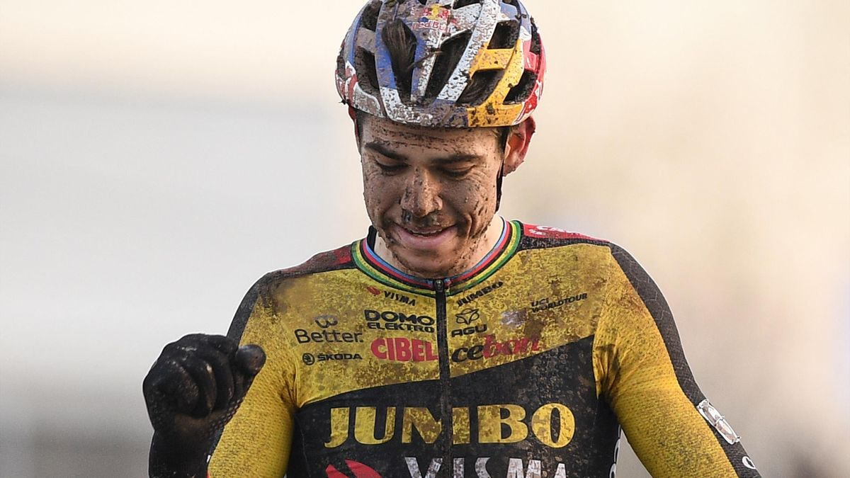 Wout Van Aert celebrates a cyclocross victory in Belgium