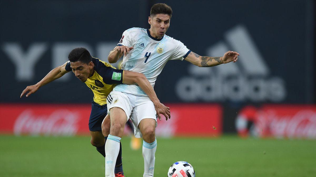 Gonzalo Montiel in azione in Argentina-Ecuador