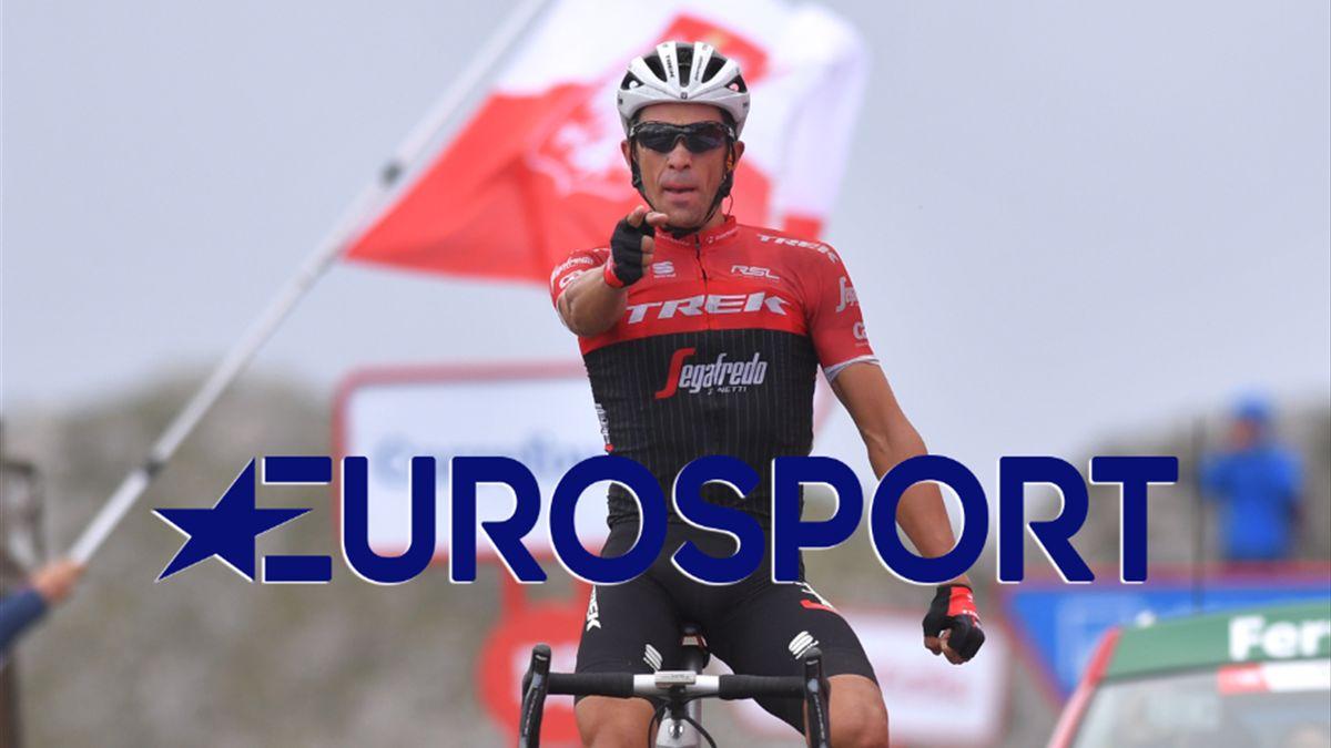 Alberto Contador pointe le logo Eurosport