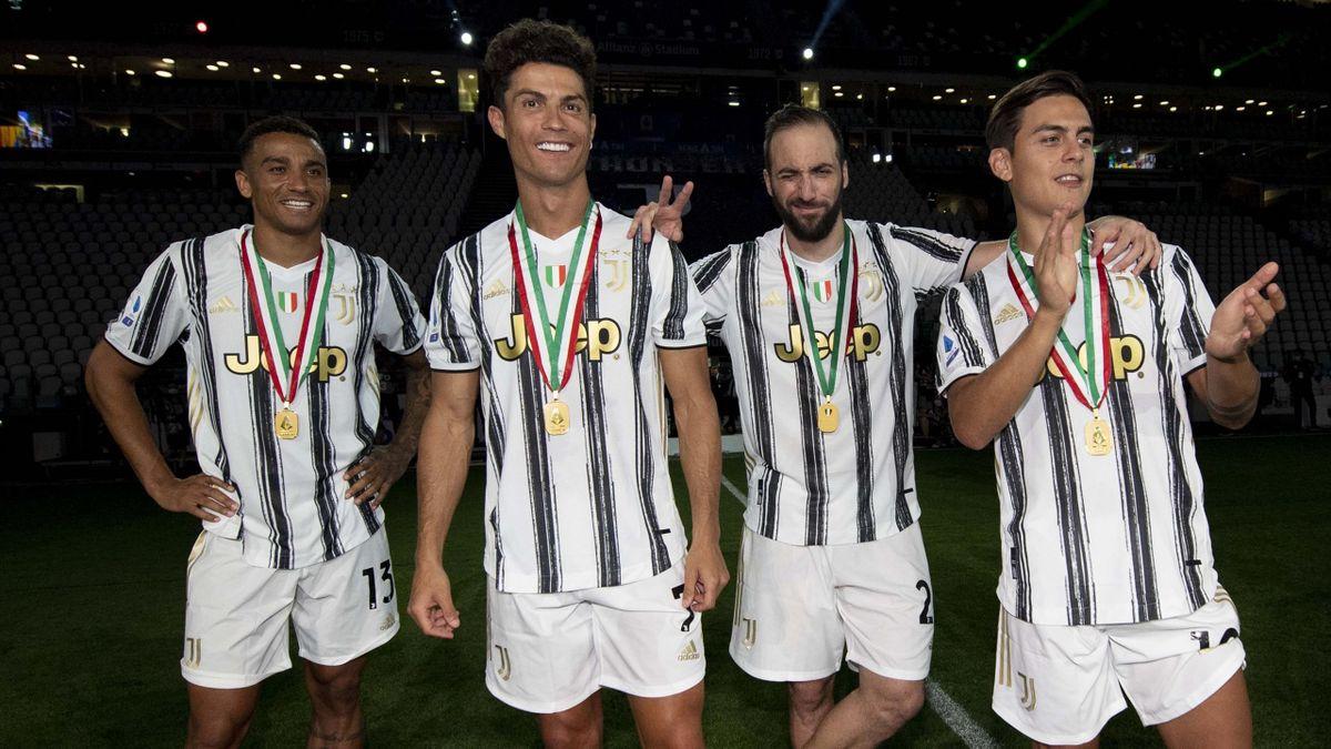 Danilo, Cristiano Ronaldo, Gonazalo Higuaín und Paulo Dybala (v.l.) | Juventus Turin