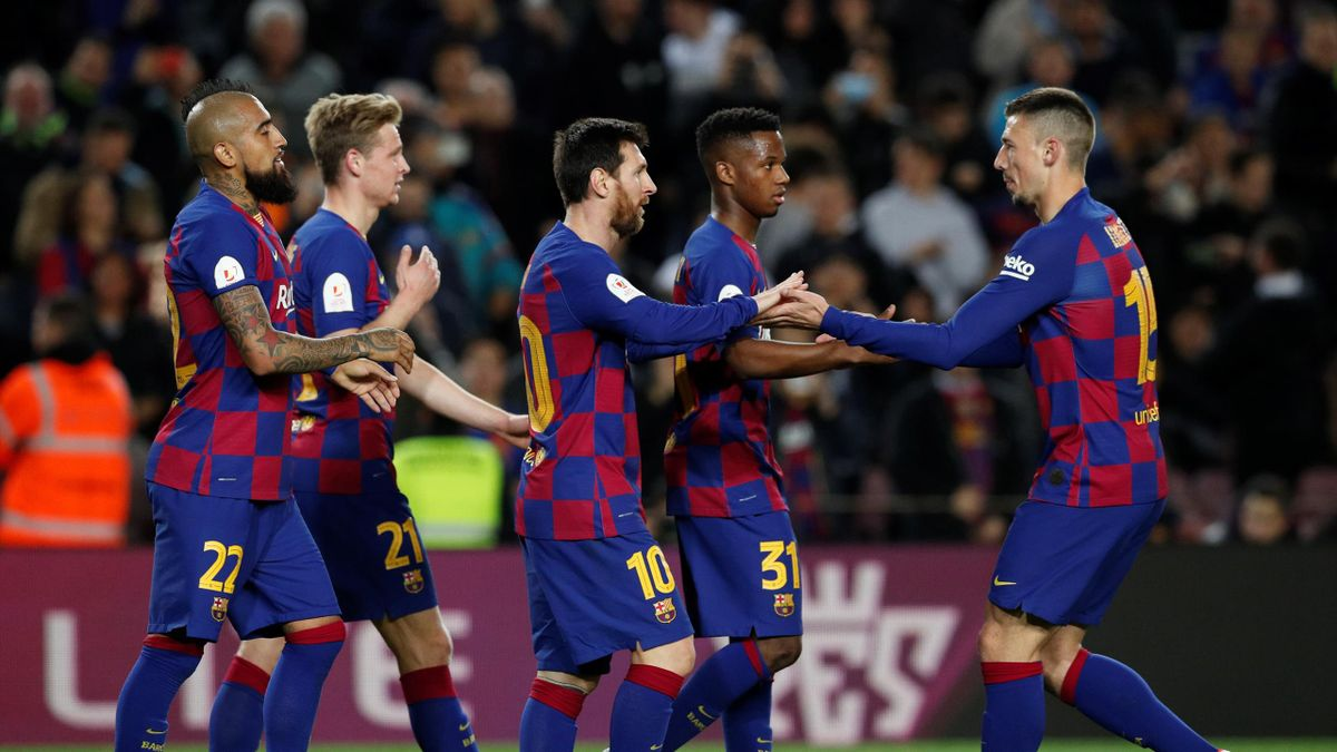 Copa del Rey - Round of 16 - FC Barcelona v Leganes - Camp Nou, Barcelona, Spain - January 30, 2020 Barcelona's Lionel Messi celebrates scoring their third goal with teammates
