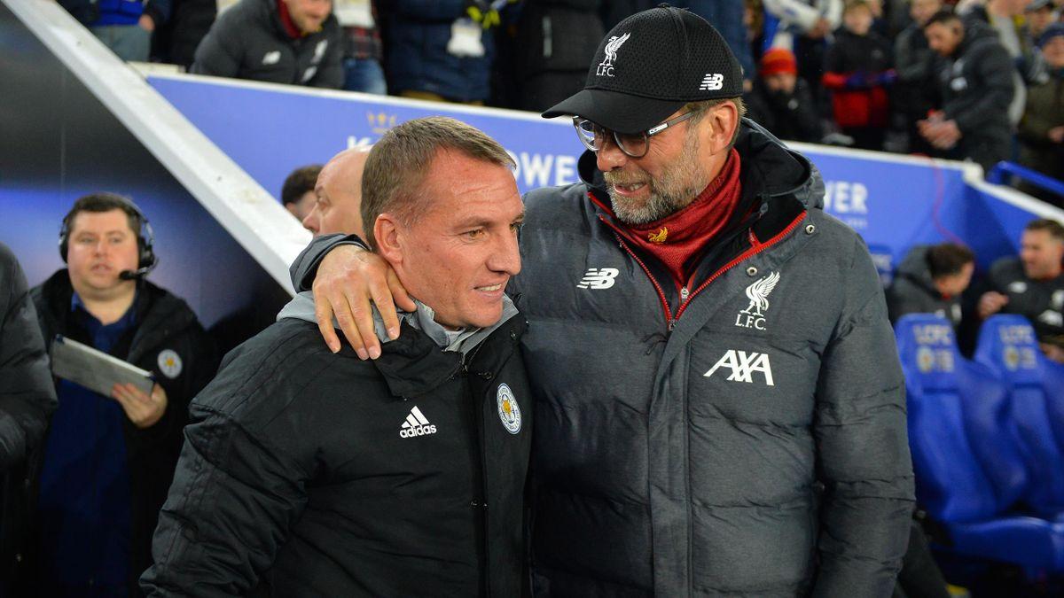 Jurgen Klopp talks to Brendan Rodgers