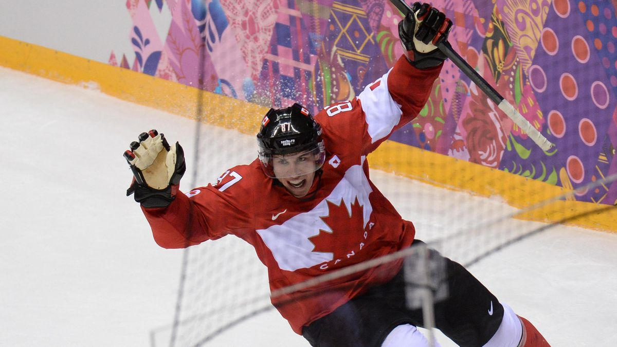 Canada's Sidney Crosby celebrates after scoring during the Men's ice hockey final Sweden vs Canada at the Bolshoy Ice Dome during the Sochi Winter Olympics on February 23, 2014