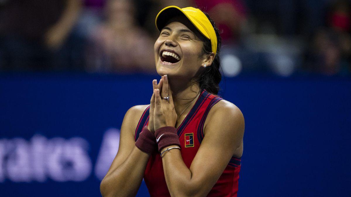 Emma Raducanu après sa victoire en demi-finale de l'US Open, le 9 septembre 2021