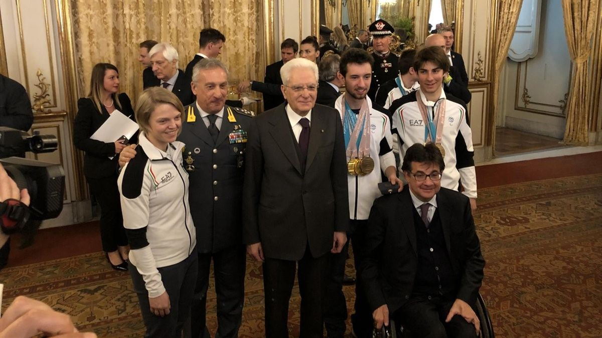Arianna Fontana, Sergio Mattarella, Giacomo Bertagnolli, Fabrizio Casal, Eurosport