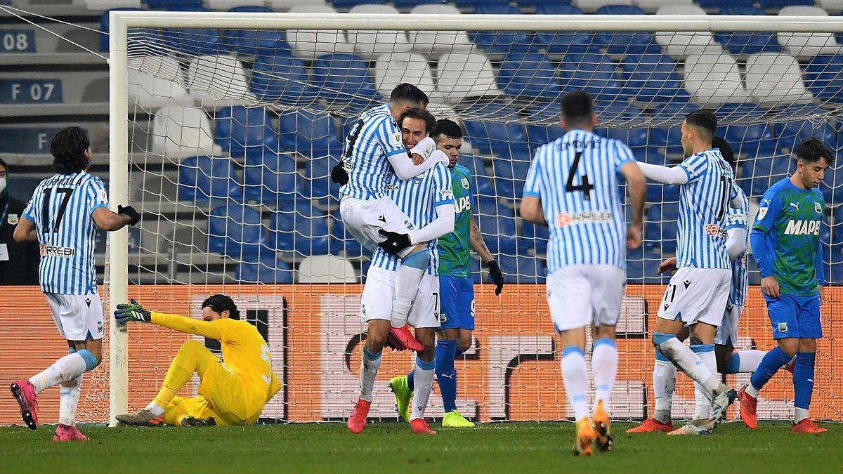 L'esultanza della SPAL dopo il gol di Missiroli, Sassuolo-SPAL