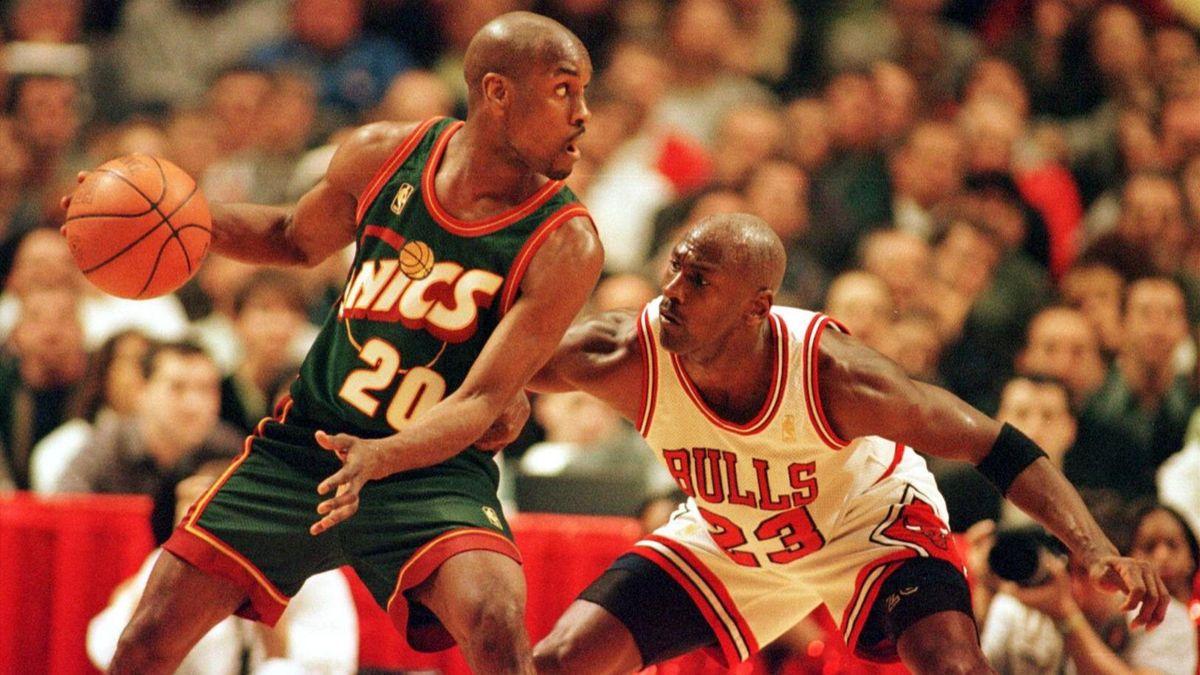 1997, NBA, Seattle Supersonics-Chicago Bulls, Gary Payton, Michael Jordan (imago)
