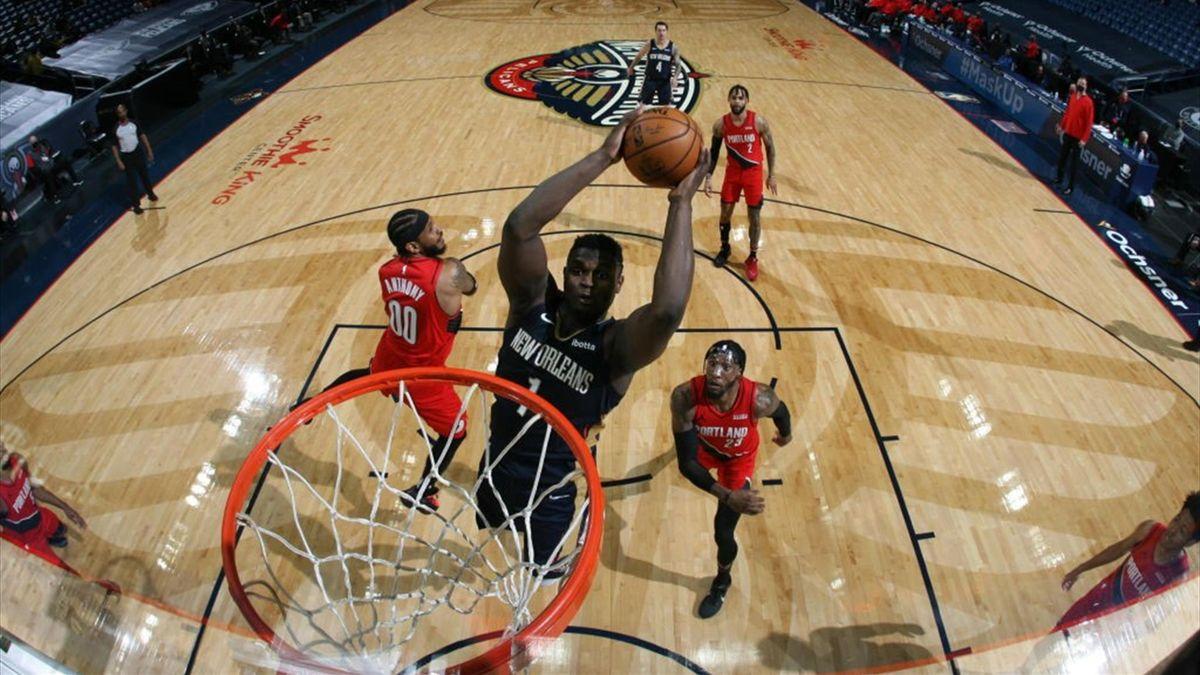 Zion Williamson lors de New Orleans Pelicans - Portland Trail Blazers en NBA le 17 février 2021