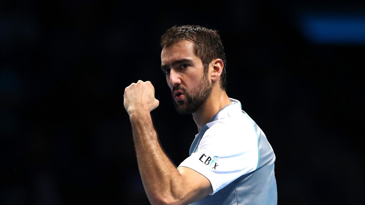 Marin Cilic of Croatia celebrates during his singles round robin match against John Isner of The United States during Day Four of the Nitto ATP Finals at The O2 Arena on November 14, 2018 in London, England.