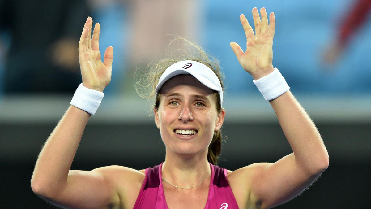 Britain's Johanna Konta celebrates after victory in her women's singles match against Russia's Ekaterina Makarova