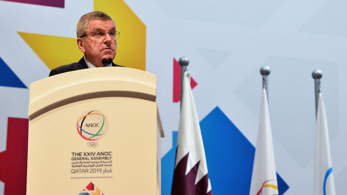 Le président du CIO Thomas Bach lors de l'Assemblée Générale de l'Association des Comités Nationaux Olympiques à Doha en 2019