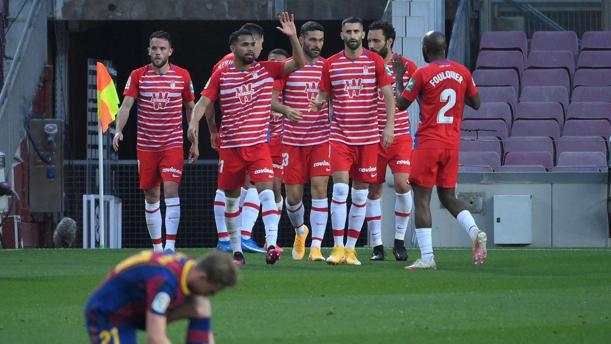 Granada players celebrate Machis' equaliser
