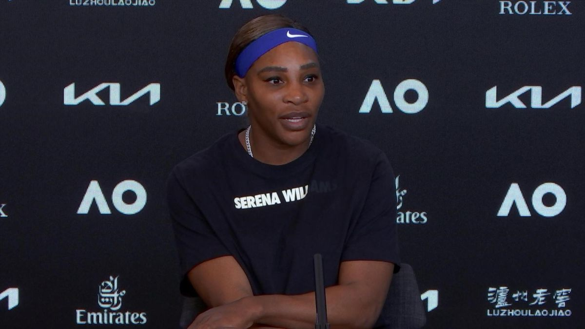 Serena Williams talking to the press after her win over Simona Halep at the 2021 Australian Open