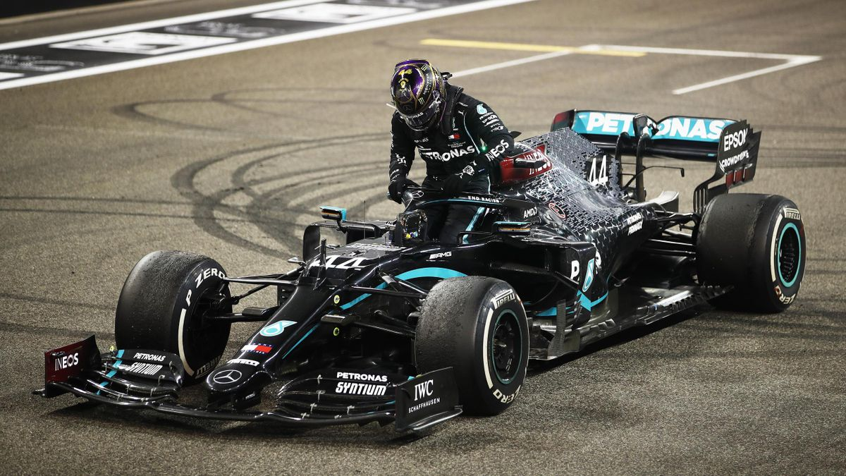 Third placed Lewis Hamilton of Great Britain and Mercedes GP climbs from his car after the F1 Grand Prix of Abu Dhabi at Yas Marina Circuit on December 13, 2020 in Abu Dhabi, United Arab Emirates