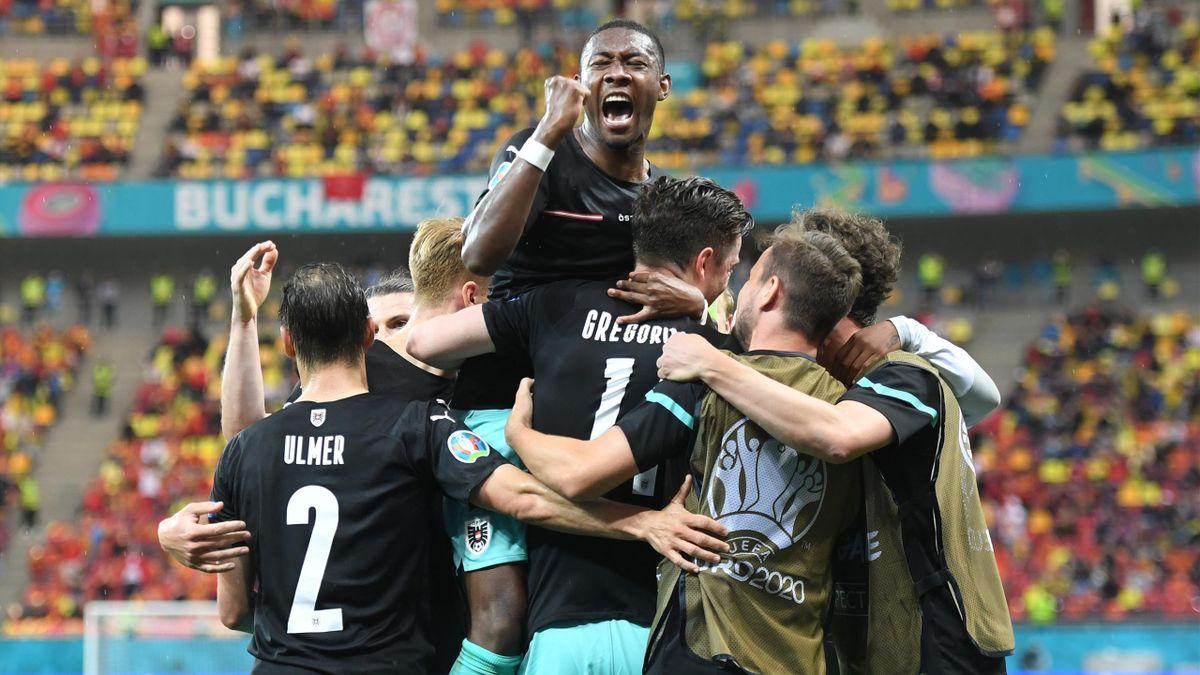 La joie des Autrichiens après leur deuxième but face à la Macédoine, le 13 juin 2021, à l'Euro 2020