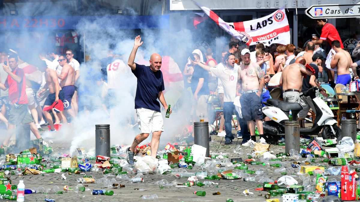Tear gas is fired at England fans as they gather in the city of Marseille ahead of the Euro 2016 football match between England and Russia