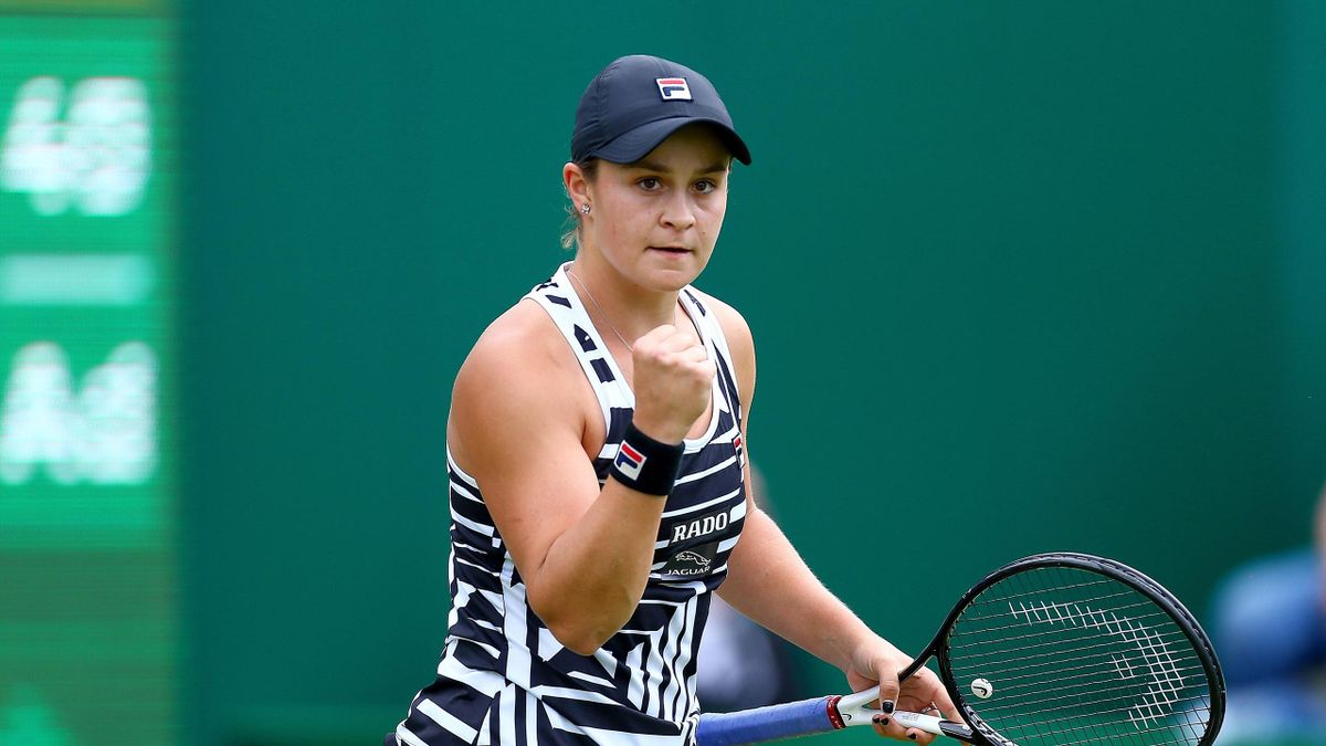 Ashleigh Barty of Australia celebrates during her quarter-final match against Venus Williams of the USA during day five of the Nature Valley Classic at Edgbaston Priory Club on June 21, 2019 in Birmingham, United Kingdom