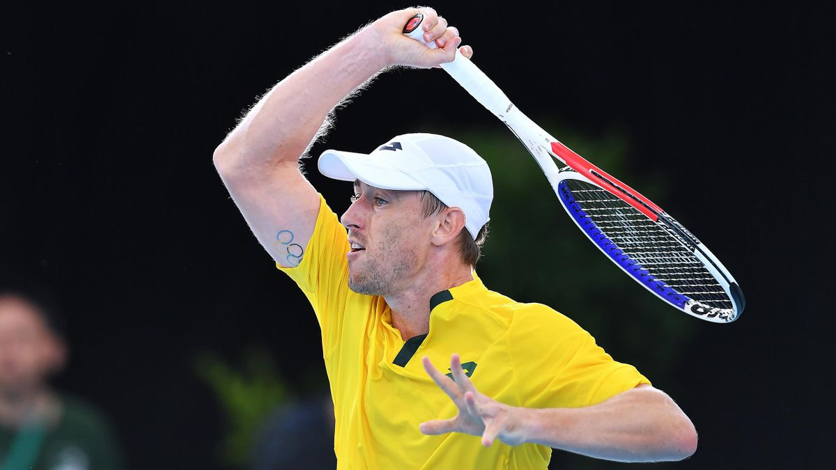 John Millman sous le maillot australien en Coupe Davis à Adélaïde en 2020