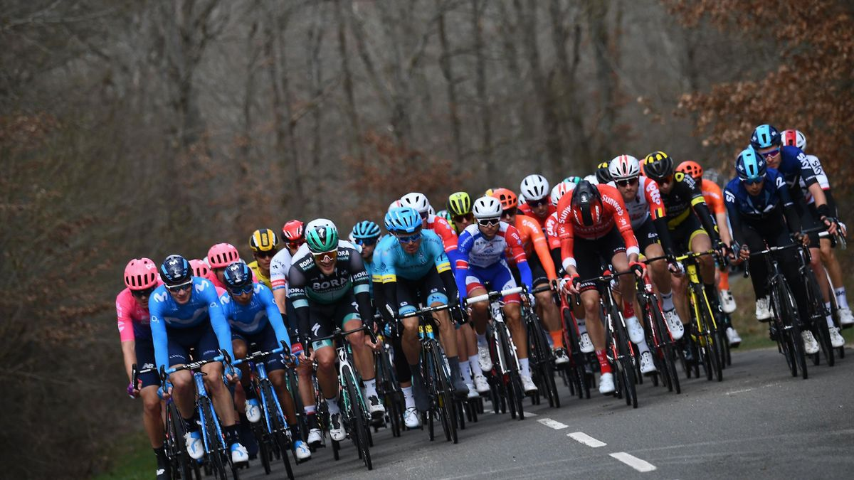 The pack rides during the 138,5km 1st stage of the 77th Paris-Nice cycling race between Saint-Germain-en-Laye and Saint-Germain-en-Laye in Saint-Germain-en-Laye on March 10, 2019.