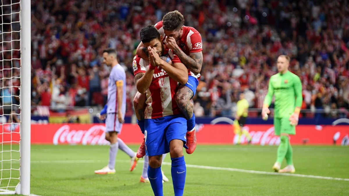 Luis Suarez celebrates his goal for Atletico Madrid,, Atletico Madrid vs Barcelona, La Liga, Wanda Metropolitano, Madrid, October 2, 2021