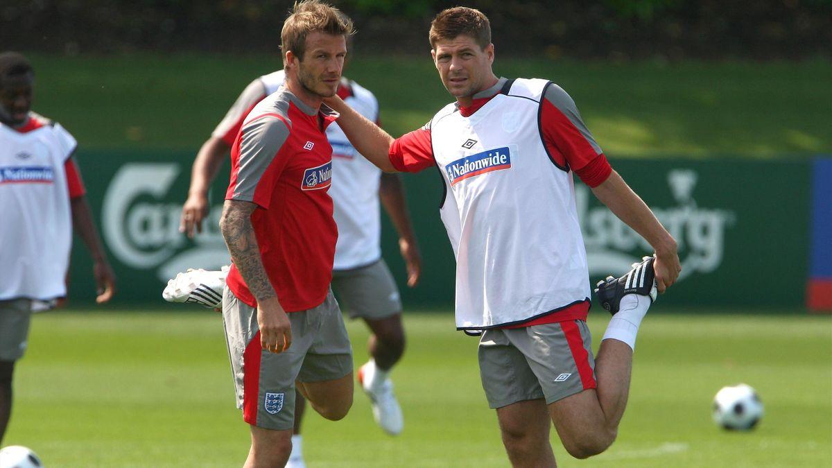 David Beckham and Steven Gerrard during their England playing days