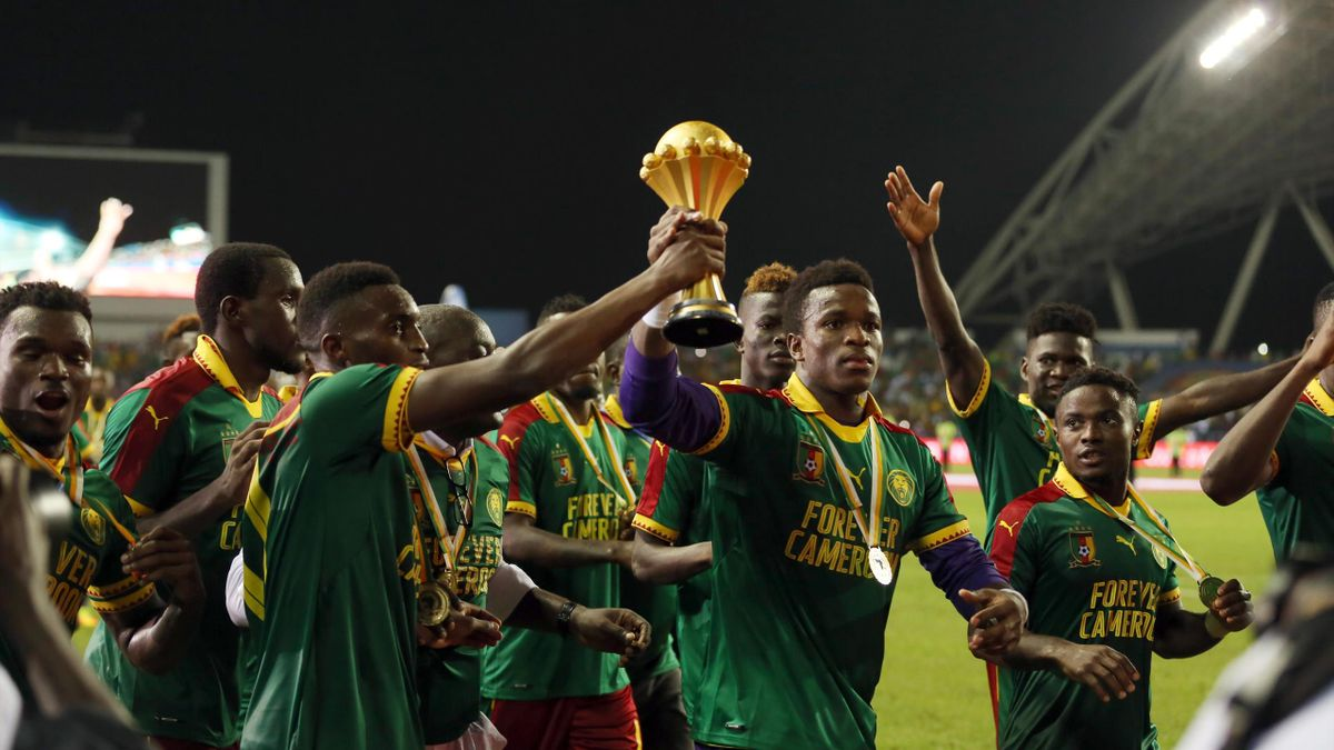 Players of Cameroon celebrate during the awards ceremony after winning the final match against Egypt of 2017 Africa Cup of Nations at the d'Angondje Stadium in Libreville, Gabon on February 05, 2017.
