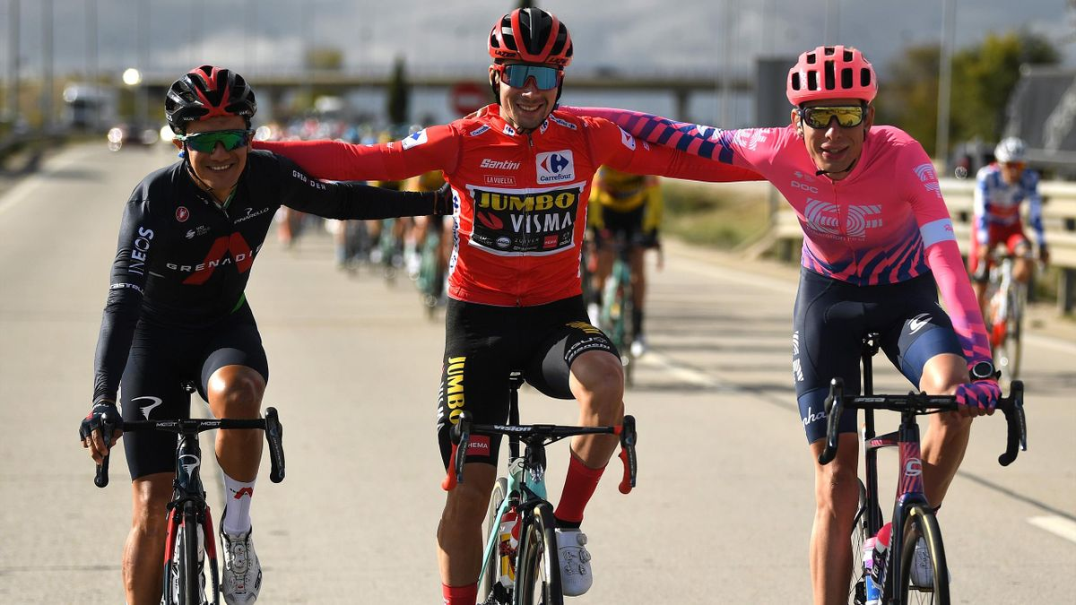 Richard Carapaz of Ecuador and Team INEOS - Grenadiers / Primoz Roglic of Slovenia and Team Jumbo - Visma Red Leader Jersey / Hugh Carthy of The United Kingdom and Team EF Pro Cycling / during the 75th Tour of Spain 2020, La Vuelta