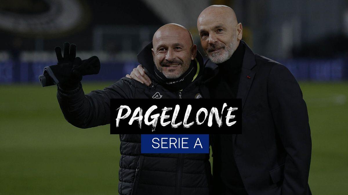 Vincenzo Italiano abbracciato dal tecnico del Milan Stefano Pioli, Spezia-Milan, Getty Images