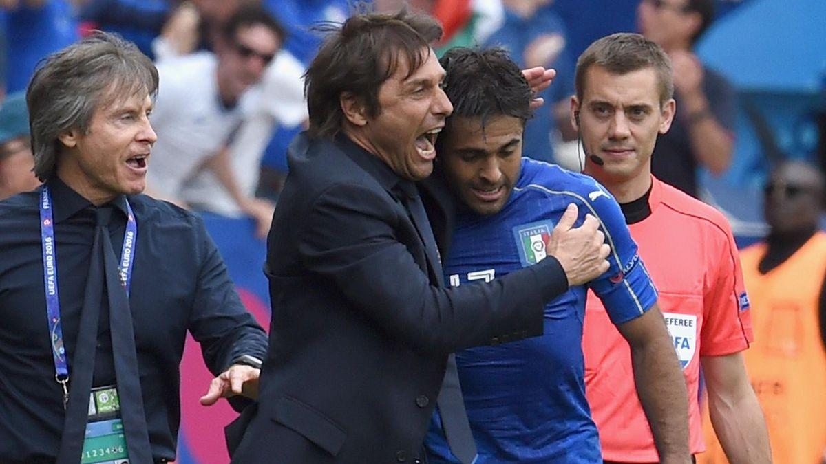 Antonio Conte insieme a Eder ai tempi della Nazionale, Getty Images
