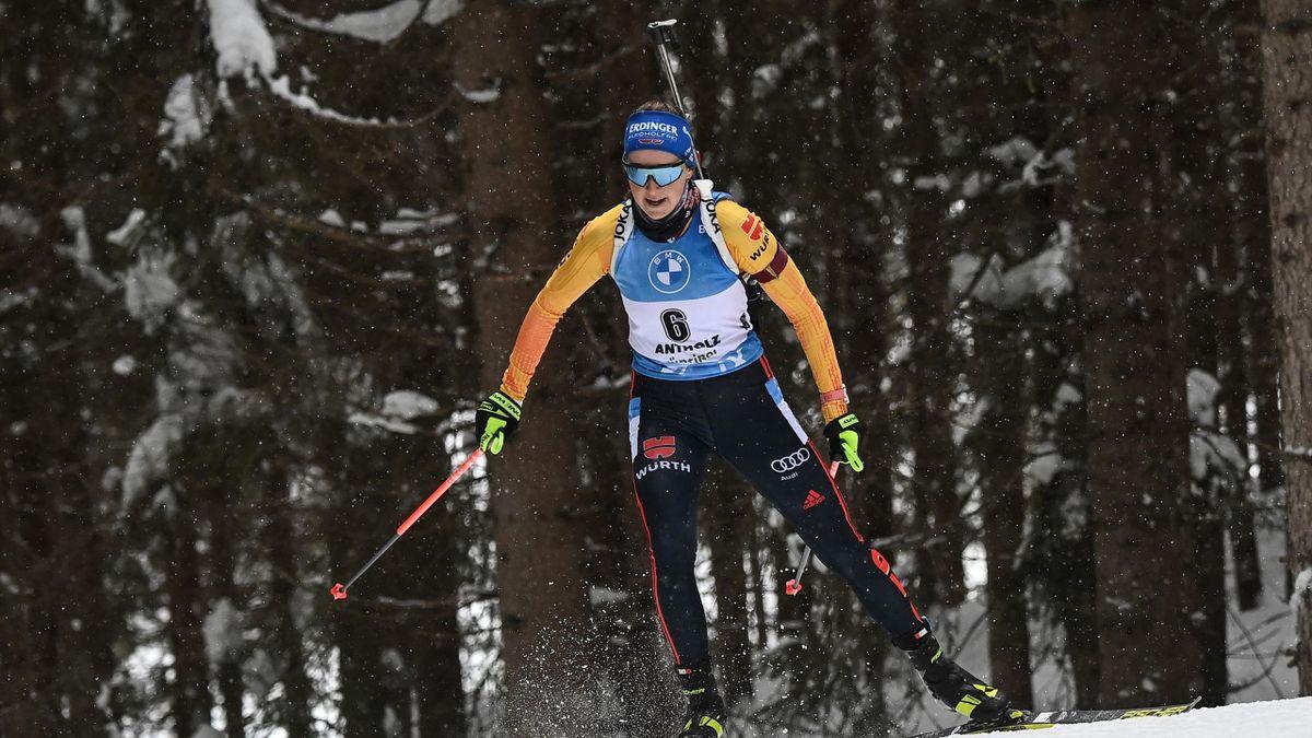 Franziska Preuß beim Biathlon-Weltcup in Antholz