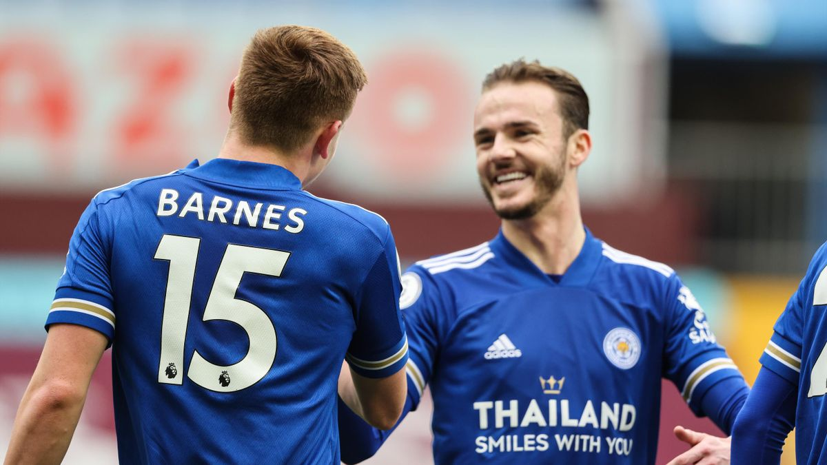 Harvey Barnes of Leicester City celebrates after scoring a goal to make it 0-2 during the Premier League match