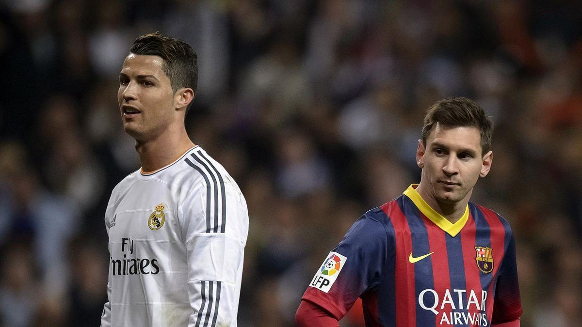 Cristiano Ronaldo et Lionel Messi lors d'un Clasico en mars 2014