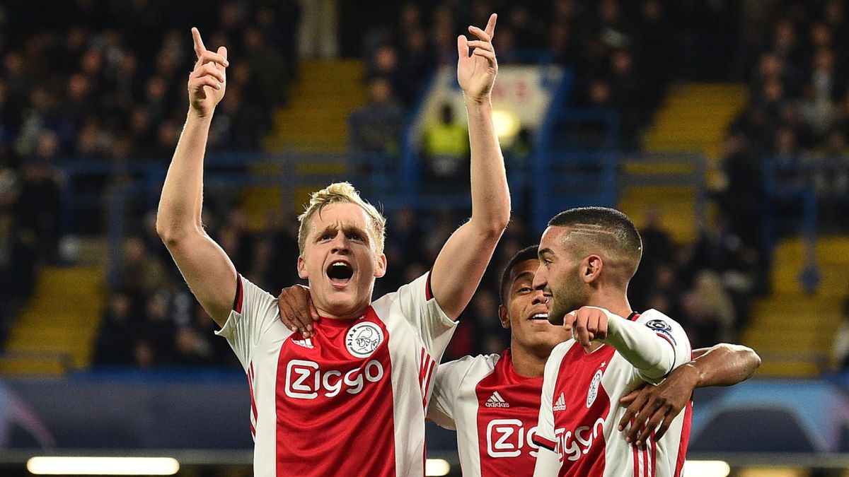 Ajax's Dutch midfielder Donny Van de Beek (L) celebrates with teammates after scoring their fourth goal during the UEFA Champion's League Group H football match between Chelsea and Ajax at Stamford Bridge in London on November 5, 2019.