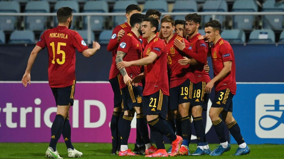 La Selección Española Sub 21 celebrando un gol ante la República Checa