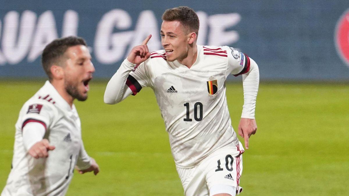 Thorgan Hazard celebrates scoring for Belgium
